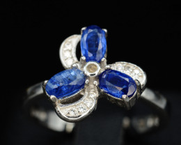 AAA Gorgeous Natural Kyanite & CZ, 925 Silver Ring