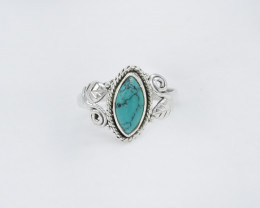 TURQUOISE RING 925 STERLING SILVER NATURAL GEMSTONE AR1816