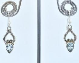 BLUE TOPAZ EARRINGS 925 STERLING SILVER NATURAL GEMSTONE AE1345