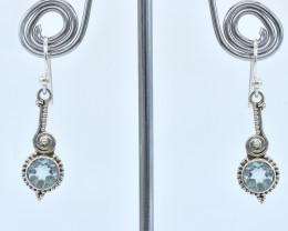 BLUE TOPAZ EARRINGS 925 STERLING SILVER NATURAL GEMSTONE AE1350