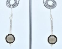 SMOKY QUARTZ EARRINGS 925 STERLING SILVER NATURAL GEMSTONE AE1352