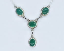 GREEN ONYX NECKLACE NATURAL GEM 925 STERLING SILVER AN262