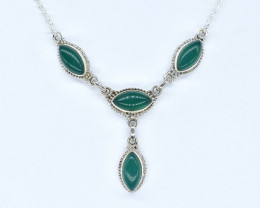 GREEN ONYX NECKLACE NATURAL GEM 925 STERLING SILVER AN264