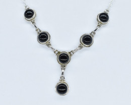 BLACK ONYX NECKLACE NATURAL GEM 925 STERLING SILVER AN265