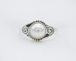 PEARL RING 925 STERLING SILVER NATURAL GEMSTONE AR1827