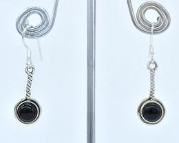 BLACK ONYX EARRINGS 925 STERLING SILVER NATURAL GEMSTONE AE1365