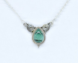 MALACHITE NECKLACE NATURAL GEM 925 STERLING SILVER AN267