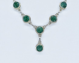 EMERALD NECKLACE NATURAL GEM 925 STERLING SILVER AN269