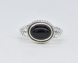 BLACK ONYX RING 925 STERLING SILVER NATURAL GEMSTONE AR1844
