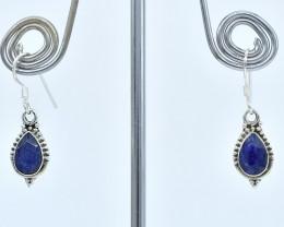 BLUE SAPPHIRE EARRINGS 925 STERLING SILVER NATURAL GEMSTONE AE1367