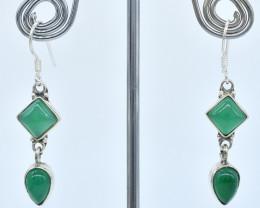 GREEN ONYX EARRINGS 925 STERLING SILVER NATURAL GEMSTONE AE1368
