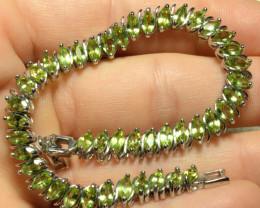 96.2 Tcw. Peridot / 925 Sterling Silver Tennis Bracelet - Gorgeous
