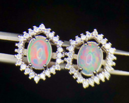 *NR*Dashing Fire Play Opal Earrings,CZ,Silver 925