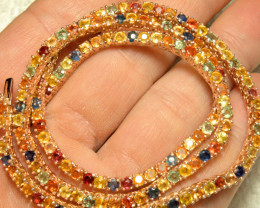 142.4 Tcw. Multi Color Sapphire / Rose Gold Plated Tennis Necklace - Gorgeo