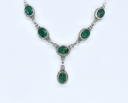 EMERALD NECKLACE NATURAL GEM 925 STERLING SILVER AN274
