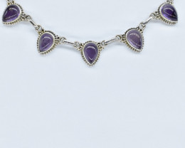 AMETHYST NECKLACE NATURAL GEM 925 STERLING SILVER AN275