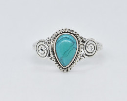 TURQUOISE RING 925 STERLING SILVER NATURAL GEMSTONE AR1851