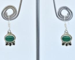 GREEN ONYX EARRINGS 925 STERLING SILVER NATURAL GEMSTONE AE1378