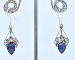 BLUE SAPPHIRE EARRINGS 925 STERLING SILVER NATURAL GEMSTONE AE1380