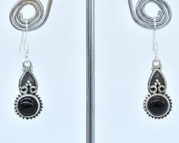 BLACK ONYX EARRINGS 925 STERLING SILVER NATURAL GEMSTONE AE1381