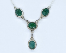 EMERALD NECKLACE NATURAL GEM 925 STERLING SILVER AN282