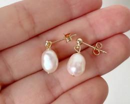 8.61ct Natural Baroque Pearl Stud Earrings #2
