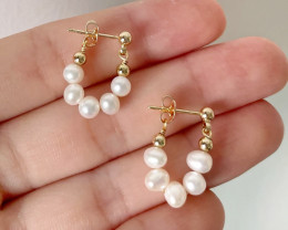 10.45ct Natural Round Baroque Pearl Stud Earrings #3