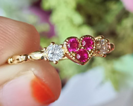 Natural Rhodolite With CZ 925 Silver Gold Plated Handmade Little Heart Ring