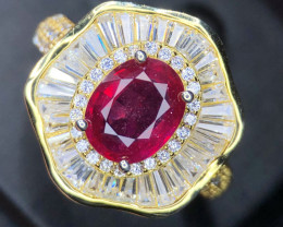 *NR*Extremely Attractive Ruby Rose Gold,Cz Ring