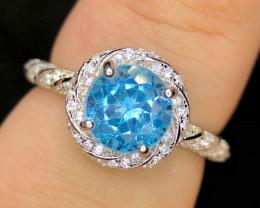 *NR*Dashing Swiss Blue Topaz with CZ,Silver 925 Ring