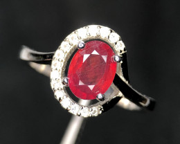 *NR*Ruby Gorgeous Color Dashing Ring with CZ,Silver 925