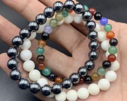 3 Piece Natural Hematite, Multi Agate & White Onyx Bracelets.