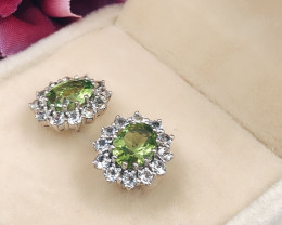 Stylish Natural Peridot 2.37 Cts  And Topaz Earring ~ Silver