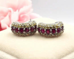 Yellow Diamond Red Ruby(Burma ) Natural  Stylish  Sterling Silver Earring