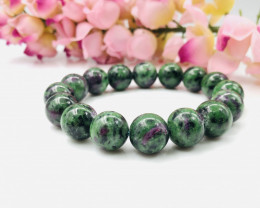 12mm Natural Ruby Zoisite Stretchable Beaded Bracelet