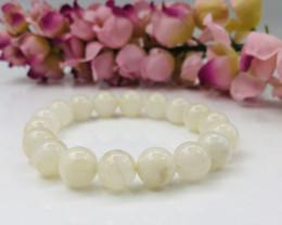 12mm Natural Moonstone Stretchable Beaded Bracelet