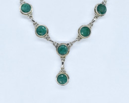 EMERALD NECKLACE NATURAL GEM 925 STERLING SILVER AN288