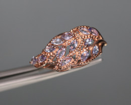 Gorgeous Natural Tanzanite & 925 Fancy Rose Gold Sterling Silver Ring