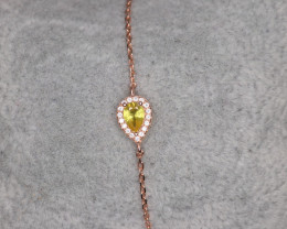 Gorgeous Natural Yellow Sapphire, CZ & 925 Fancy Rose Gold Sterling Silver