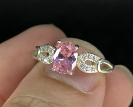 Wow Very Beautiful Pink & White Zirconia in 925 Silver