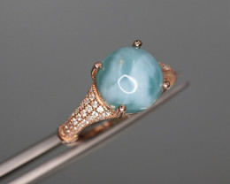 Gorgeous Natural Larimar, CZ & 925 Fancy Rose Gold Sterling Silver Ring