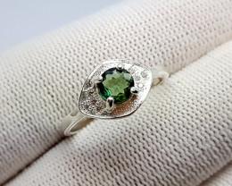 Natural Verdelite (Green Tourmaline) Silver Ring