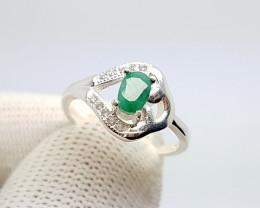 Natural Green Emerald Silver CZ Ring