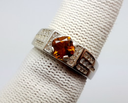 Natural Madeira Citrine Ring 925 Sterling Silver