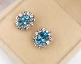 Stylish Natural Blue Topaz ,WhiteTopaz  Silver Earring