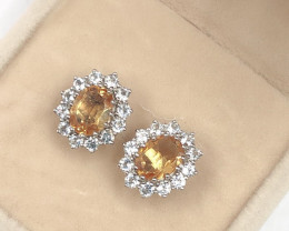Stylish Natural Yellow Citrine And Topaz  Sterling Silver 925 Earring