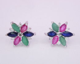 Beautiful Natural Emerald, Ruby and Sapphire Gems Earring