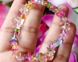 Natural Multi Color Fluoride & Agate Handmade Bracelet Unheated
