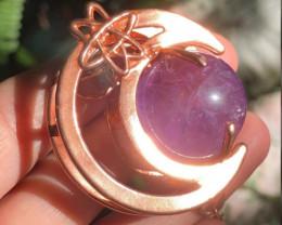 Amethyst Crescent Moon Necklace, Amethyst Moon Necklace, Atom Necklace, Ato