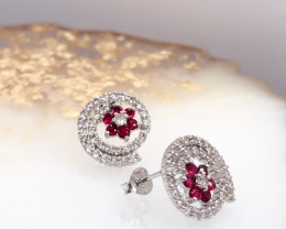 Stylish Natural Burma Red Ruby And Topaz Sterling Silver 925 Earring